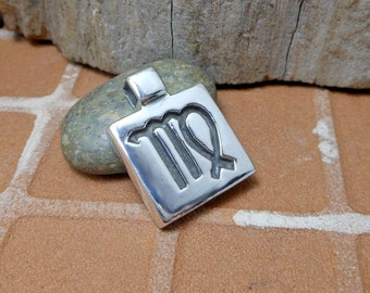 Heavy Solid Square Sterling Silver Virgo Symbol Charm,Virgo Pendant,Virgo Charm,Virgo Zodiac Charm,Birth Sign Charm,Astrology Gifts,Virgo