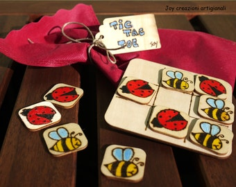 MADE TO ORDER Tic Tac Toe Game; Ladybug & Bumblebee; Wooden Toy for Children; Wood Table Game