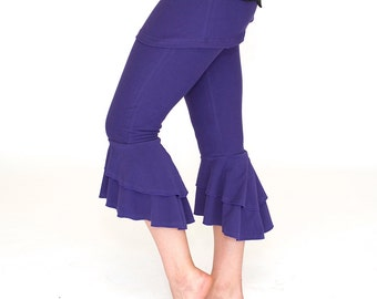 Ruffle bottom Capri Pants / bloomers with attached skirt SASSY CAPRIS yoga dance wear flare women's bottoms, festival pants