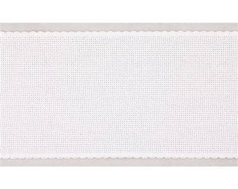 10 cm wide AIDA  BAND 14 Count. White Cross stitch fabric per 50 cm. Made in Italy. Cotton fabric.
