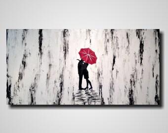 Original large abstract black and white painting jmjartstudio 24 x 48