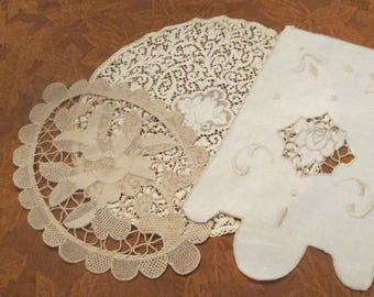 Three Small Vintage Doilies - Unique Doily Assortment - Cream and Taupe