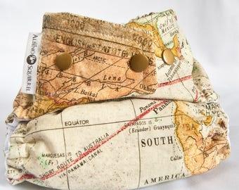 Cloth Diaper World Map Print Adventure - Diaper Cover or Pocket Diaper (One Size)