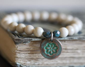 River Stone, Stretch Bracelet, 8mm, Stacking Bracelet, Copper Charm, Aqua Patina, Czech Glass, Beaded Bracelet, Creamy White, Boho Rustic
