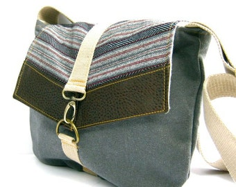 satchel // distressed navy canvas - navy and red tribal stripe - pebbled brown vegan leather // crossbody bag