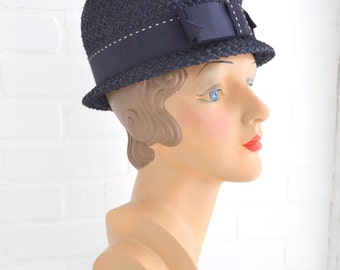 1960s Navy Straw Hat