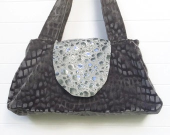 Boho Bag Purse Gray Cut Velvet and Leather Recessed Zipper