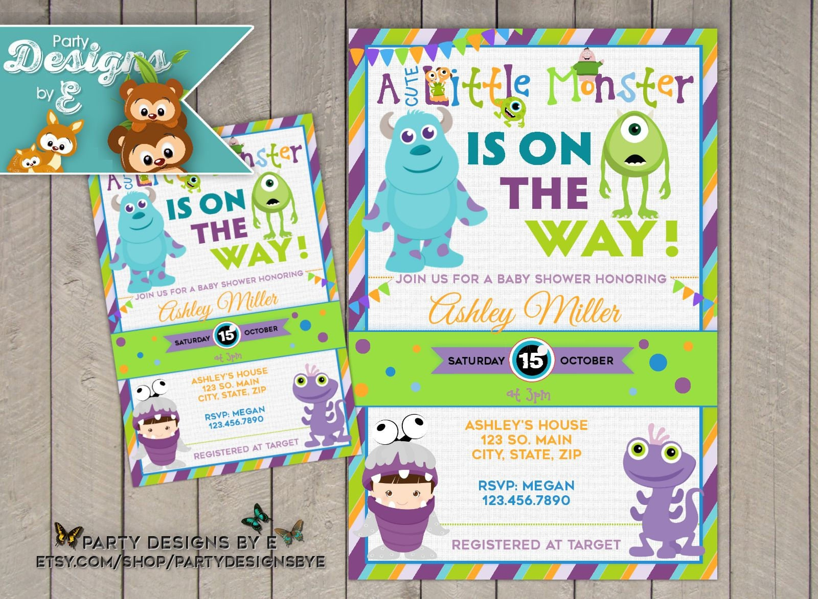Monsters Inc. Baby Shower Invitation A Little Monster baby