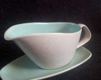Poole Pottery Gravy Boat and Stand in ice green and seagull 1950's