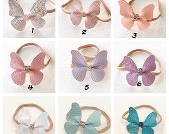 Purple Mermaid Butterfly Headband, White Metallic Butterfly Headband, Pink Metallic Butterfly Headband, Butterfly Headband, baby, newborn
