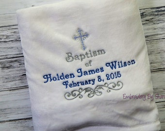 Christening blanket - Baptism boys' blanket - Birth Blanket - Cross baby blanket - religious blanket - Baby Shower Gifts- Baby girl Gifts-