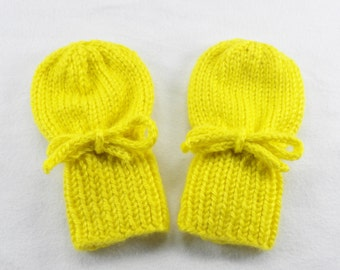 Yellow Baby Mittens - Acrylic Hand Knit Thumbless Gloves Fits Infants 0 to 12 Months