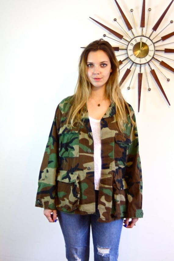 Vintage Army Jacket, Camo army jacket, 70s army jacket, Woodland Camouflage, army surplus jacket,  Vietnam, army jacket, unisex army jacket