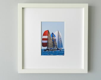 Framed Photography, Sailboat Photography, Ocean Art Photo, Nautical Art Print, Red White Blue Nursery Decor, Framed Art, West Elm Frame