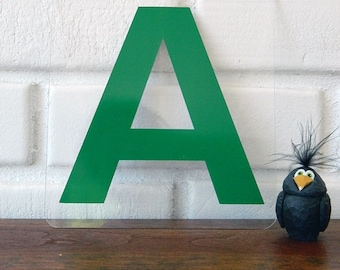 Green Rigid Plexiglass Letter A / Gas Station Letters / Industrial Letters / Letter A Placard