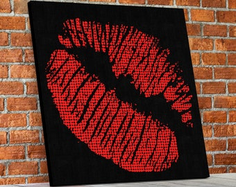Hot Lips Red Hot Lips Framed Canvas Wall Art Pop Art Style Red Lips Decor For Home Decor , Office Decor, Studio Decor, Bar Decor