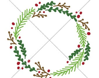 Christmas Wreath Monogram Frame SVG dxf Files for Cutting Machines like Silhouette Cameo and Cricut, Commercial Use Digital Design