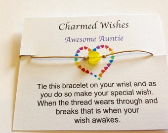 Awesome Auntie friendship bracelet, best friends bracelet,auntie gift, aunt card, cord bracelet, fun bracelet, wish gift