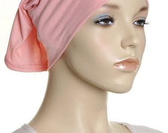 Extra Wide Headband / Peach Mauve Cotton Head Band / Gifts For Her / Plain Head Wrap / Womens Yoga Headbands / Chemo Cap / Underscarf