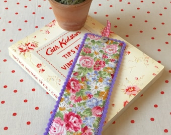 Floral fabric bookmark