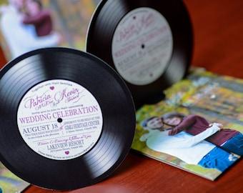 Music Themed Wedding Invitations - Vinyl Record  | Custom Invites Handmade in Canada by ---- www.empireinvites.ca ---