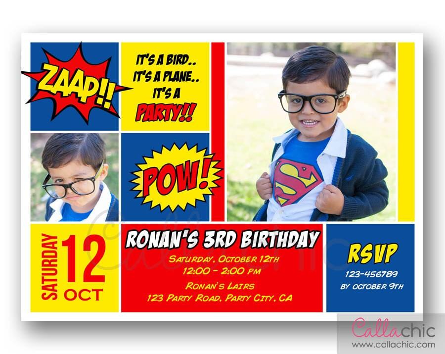 Superman Birthday Invitation with Photo PRINTABLE Boy Girl