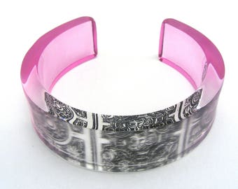 Pink Perspex Cuff - Victorian Tile Cuff - Flower Bangle -  Perspex Dyed cuff  -  acrylic bracelet - Perspex Jewellery - black pink bangle