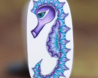 Small Seahorse Polymer Clay Cane- 'Deep Blue Sea' series (13aa)