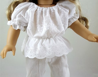White Eyelet Peasant Blouse & Ankle Pants made to fit 18 inch dolls