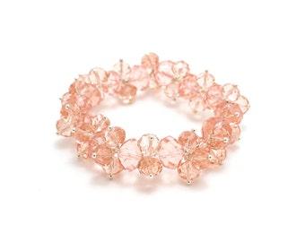 Light Pink Swarovski Bracelet/ Pink Crystal Bracelet/ Light Pink Bracelet/ Pink Woven Crystal Bracelet/ Woven Bead Bracelet