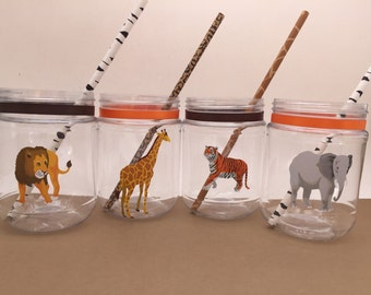 Safari Party Supplies: Safari Theme Plastic Mason Jar Drink Cup, Zoo Animal Party Cup, Safari Party Cup