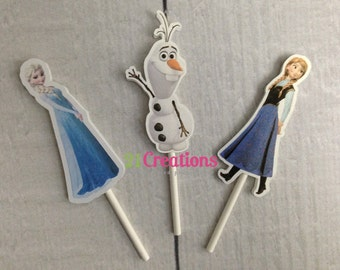 Congelados Cupcake Toppers - Elsa, Ana, Olaf