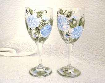 Free shipping Beautiful blue hydrangea hand painted set of two wine glasses