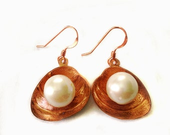 Copper Shell and Pearl Earrings Tsalagi Cherokee Made