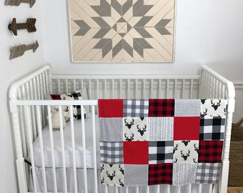 Woodland Nursery Lumberjack Baby Boy Nursery Decor Fabric Bunting Buffalo Plaid Bunting Garland Banner Wall Decor Wall Hanging Red Black