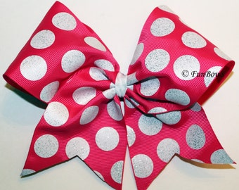 HOT Pink and white Dot Awareness Cheer Bow by Funbows !