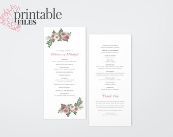 The Zara Watercolour Wildflower Wedding Ceremony Program (Printable)