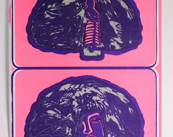 """Original Lithograph """"Hut Can Be Hairdo"""" 1968 Signed in Plate"""