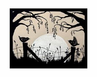 Harvest Moon - 8 X 10 inch Cut Paper Art Print