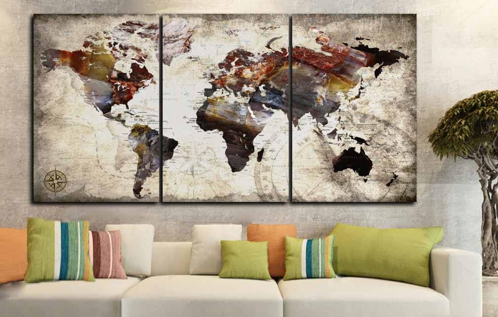 Push Pin World Map Large Canvas Print,World Map Push Pin,World Map ...