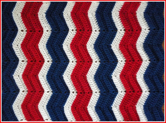 Handmade Crochet Cherry Red White And Royal Blue 4th Of