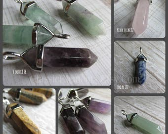 Choose Petite Gemstone Pendulum Pendant, Gemstone Pendulum, Gemstone Hexagon Pendant, Gemstone Pendants, Gemstone Pendant