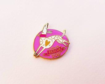 I Love My Rescue Dog enamel pin WHITE PINK
