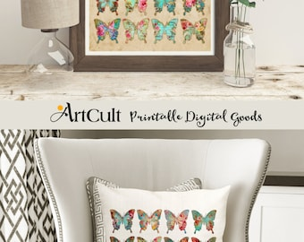 2 Printable downloads Digital Sheets BUTTERFLY COLLECTION No2ת to print on fabric or paper, Iron On Transfer, for totes t-shirts, pillows