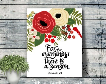 """Printable artwork """"For everything there is a season"""" Christmas eve holiday home decoration print, instant downloadable art ArtCult designs"""