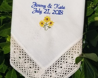 Something blue, wedding day, tissue for happy tears, Embroidered Wedding Handkerchief, something blue for the bride, by Canyon Embroidery