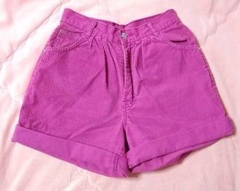Vintage Pink Corduroy Shorts, Pink High Waisted Shorts, Vintage Pink High Waist Shorts, Vintage Pink Shorts, Corduroy Shorts