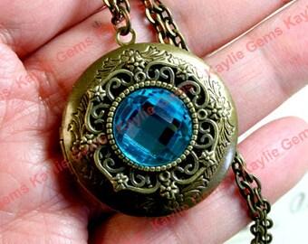 Locket Necklace Filigree Aqua Blue Glass Gem Antique Brass