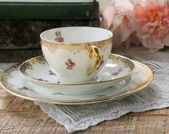 French Limoges Tea Cup Trio Set, T & V  Place Setting, Tea Cup Saucer Dessert Plate, Elegant Tea Party, Wedding, Tressman and Voight