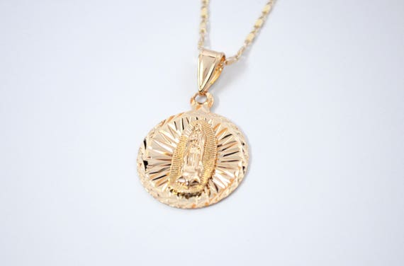 Gold virgin mary medallion necklace guadalupe pendant mozeypictures Choice Image